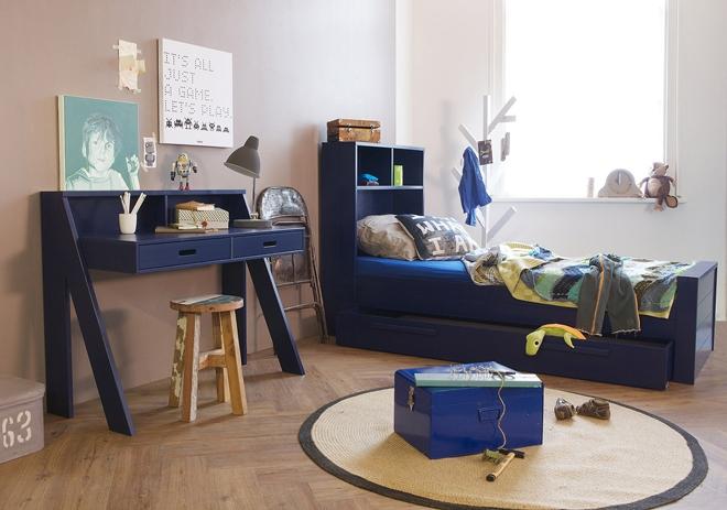 Special rentree lit bureau sam nordic factory bleu fonc file dans ta - Chambre de garcon 6 ans ...