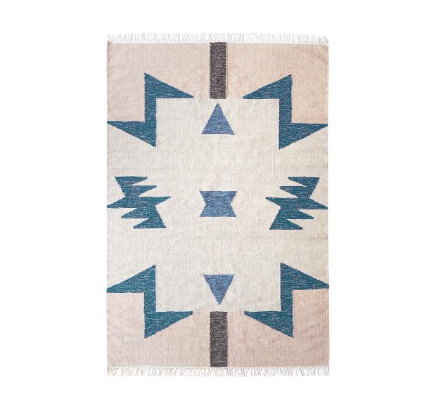 Tapis Kelim Blue Triangles 140x200