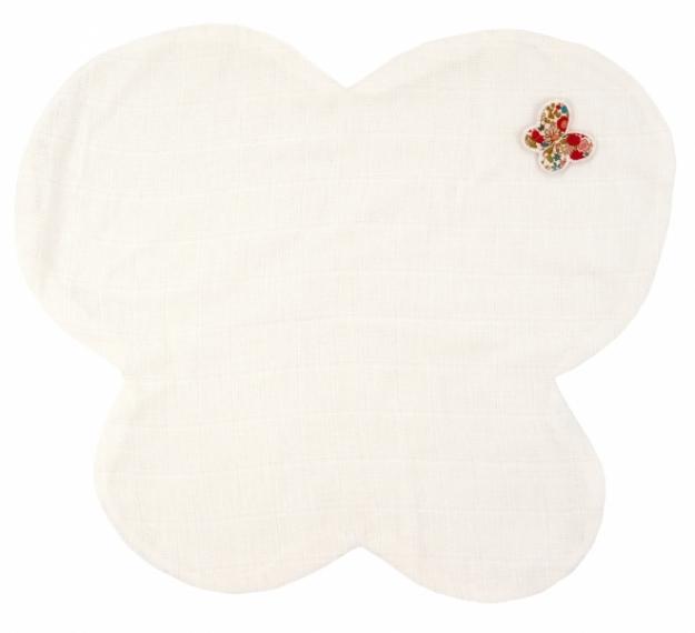 Doudou Lange Papillon Fleurs Rouges - 35cm