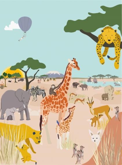 Fresque de Papier peint Safari
