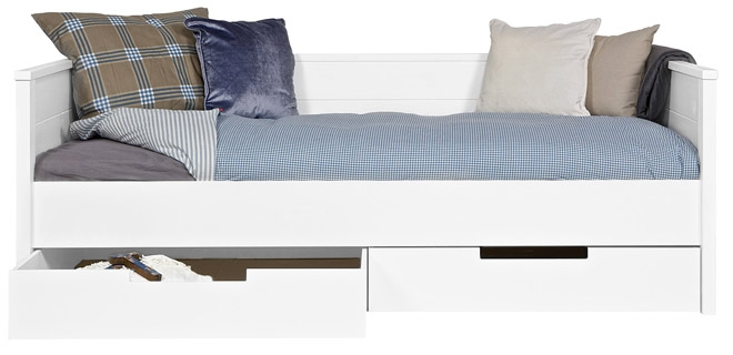 Lit banquette jan tiroir de rangement nordic factory file dans ta chambre - Banquette avec coffre de rangement ...