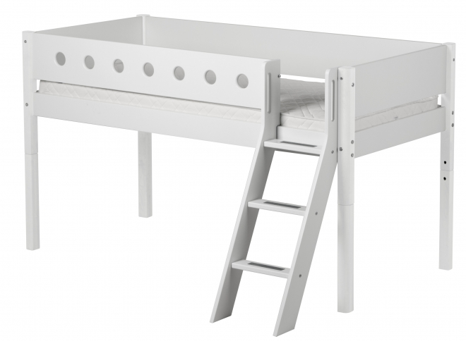 Lit mezzanine évolutif mi-hauteur White 90x190 ech.incli