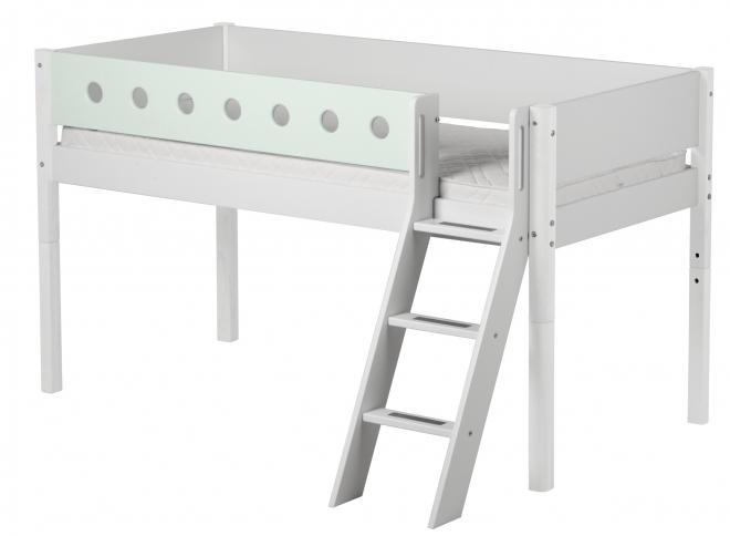 Lit mezzanine évolutif mi-hauteur White 90x200 ech.incli