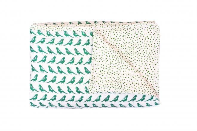 Plaid quilté 150x220 Green Birds