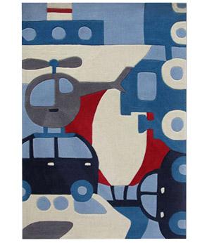 tapis puzzle voyage 110x160 - Tapis Chambre Bebe Bleu