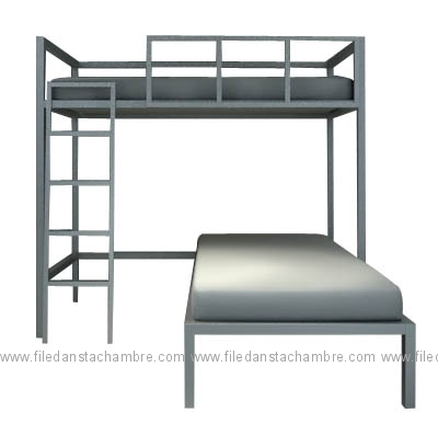 lit 2 personnes mezzanine. Black Bedroom Furniture Sets. Home Design Ideas